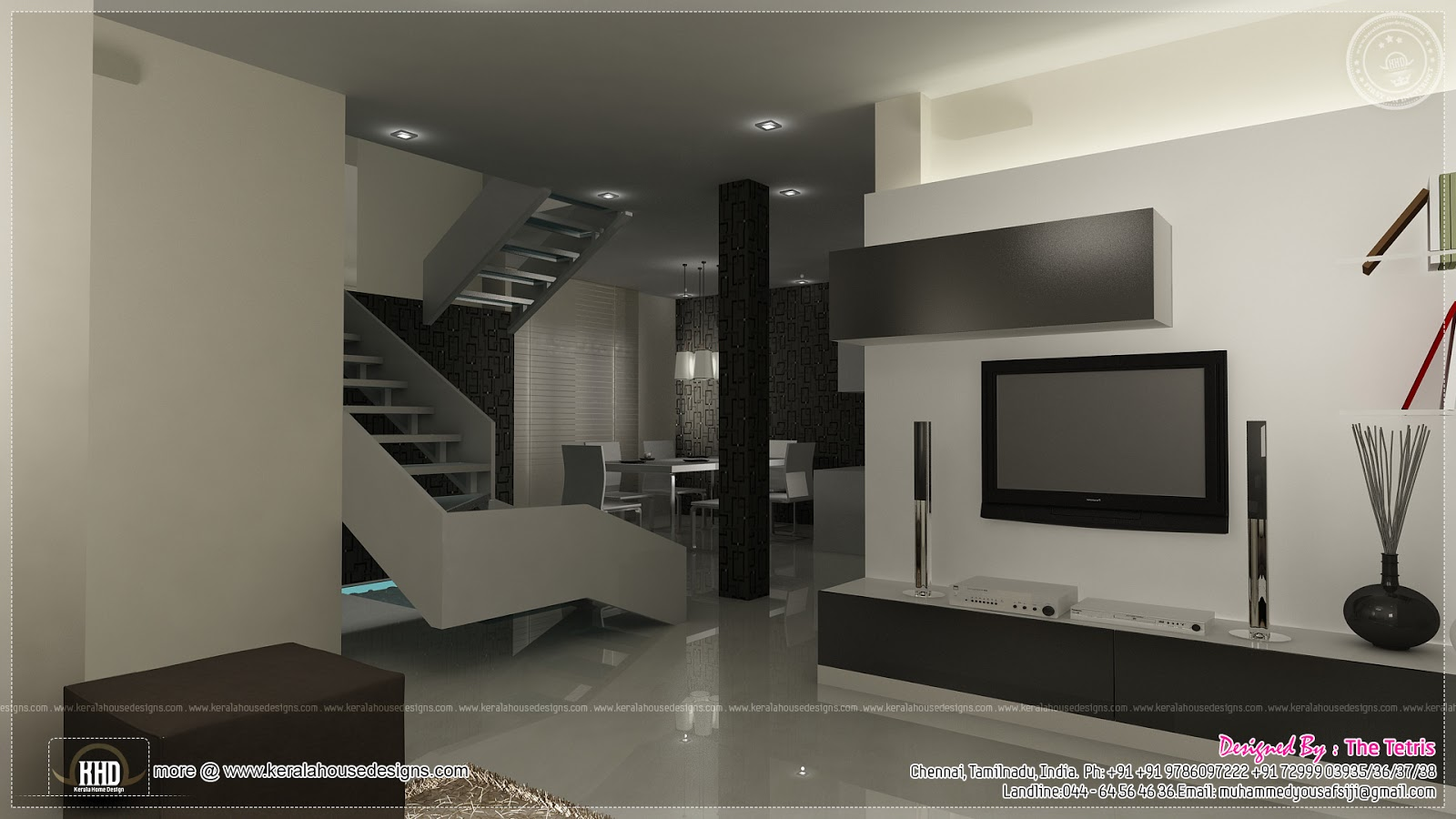 Interior design renderings by Tetris Architects, Chennai  Kerala home