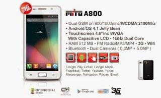 harga dan spesifikasi HP Mito A800