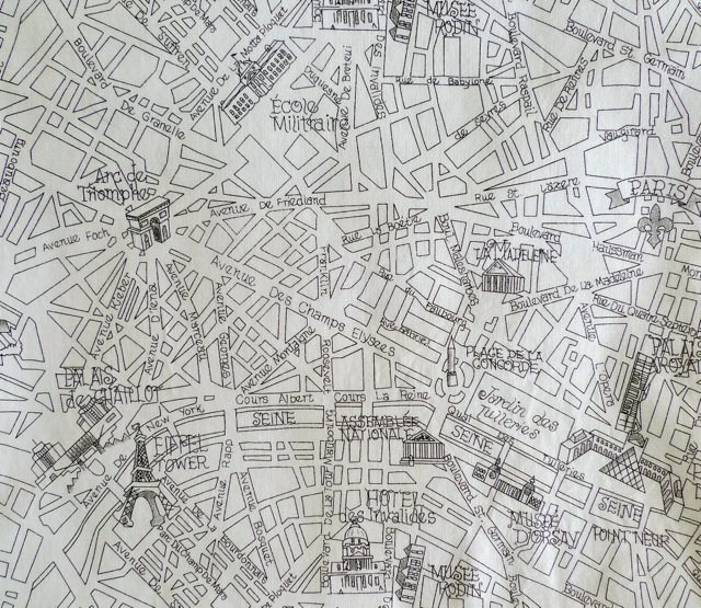 Paris Map Fabric - Paris map fabric