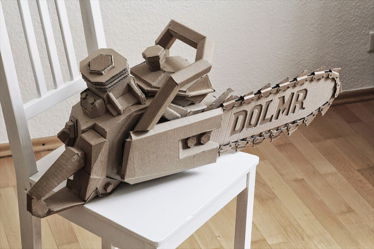 05-Chainsaw-Bartek-Elsner-Understated-Cardboard-Sculptures-www-designstack-co