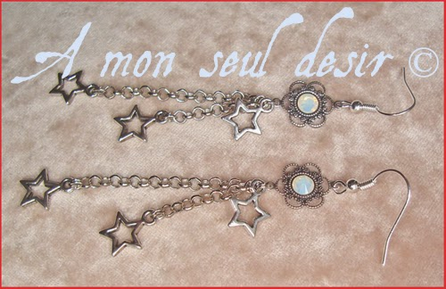 Boucles d'Oreilles étoiles filantes argentées strass Swarovski opale féerique elfique bijou silver elven fairy stars earrings