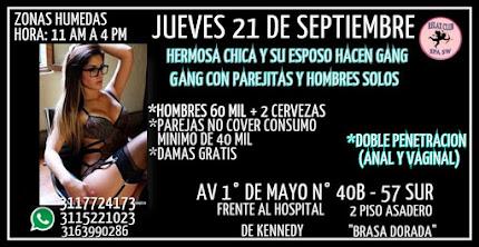 JUEVES 21 DE SEPTIEMBRE DE 11 AM A 4 PM HERMOSA CHICA Y SU ESPOSO HACEN GANG BANG