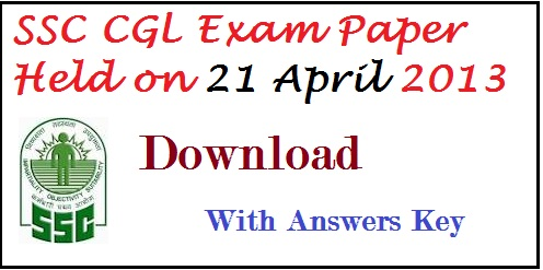 SSC Recruitment- ssc combined graduate level exam-ssc cgl exam paper - solved paper  with answers key