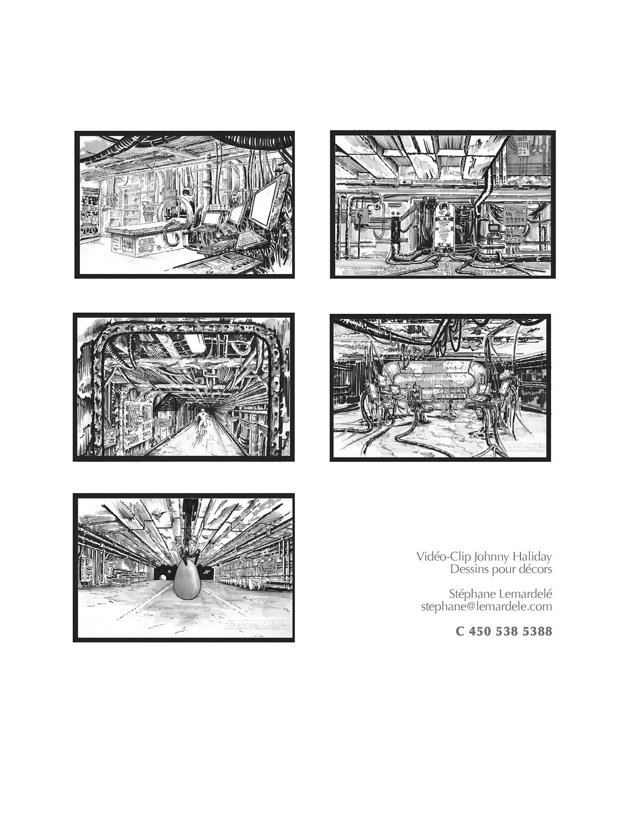 Johnny Haliday (dessins de décors pour vidéo-clip)