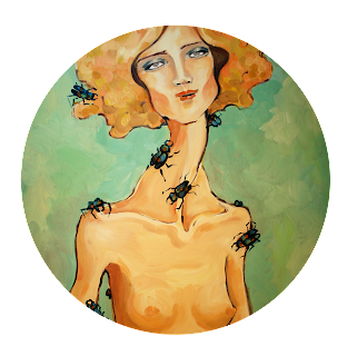 lovely female nude fashion figure with stag beetles and mint green background, illustration