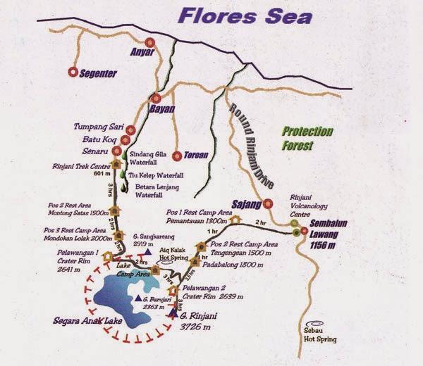 Map routes information Rinjani trekking