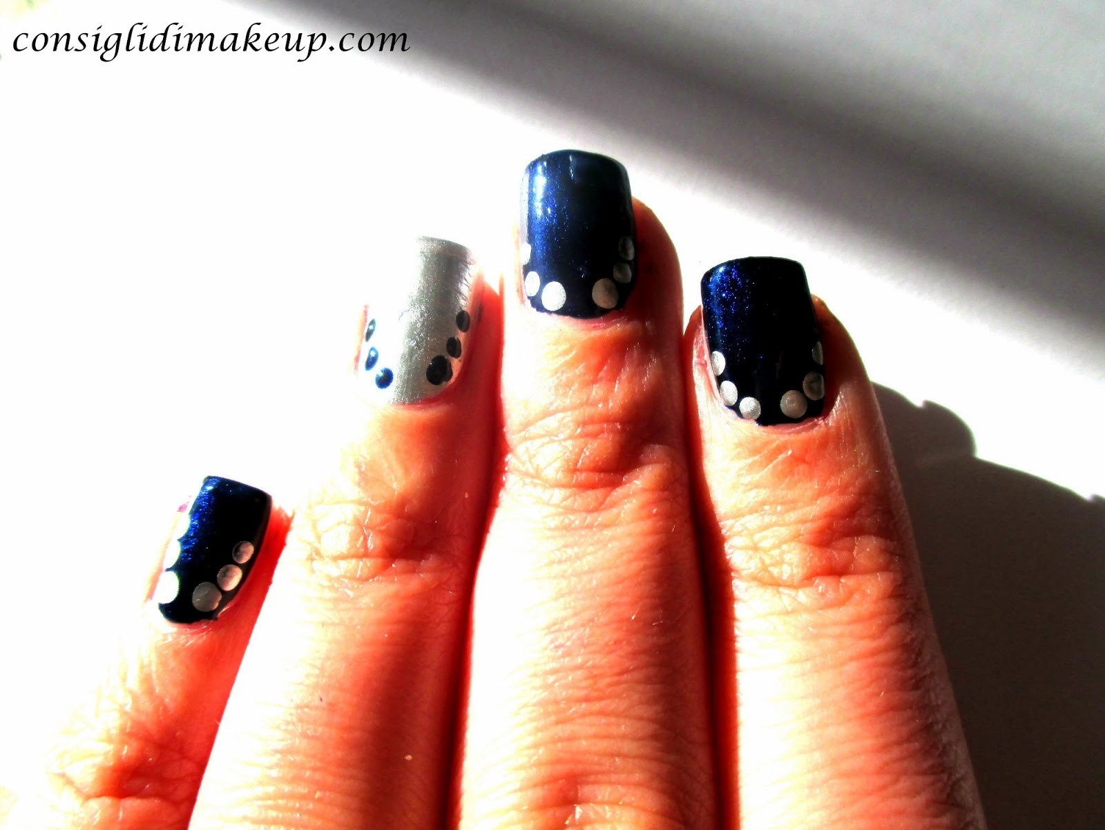 tutorial nail art argento blu