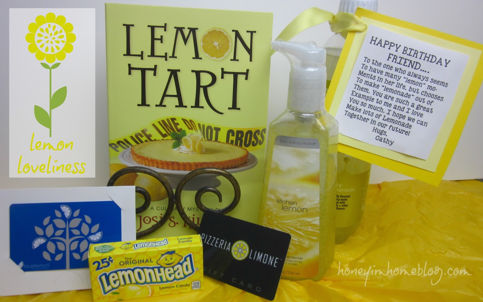 Honey im home 3 extraordinary gift ideas lemon themed treats including gift cards for two of my favorite restaurants which of course have lemon in the title and the note negle Images
