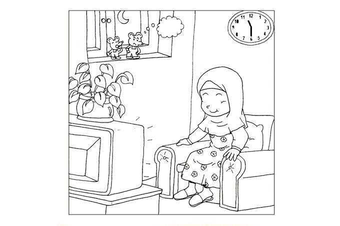 صورة الجدة وهي تجلس على كرسي كنبة لتلوين الاطفال