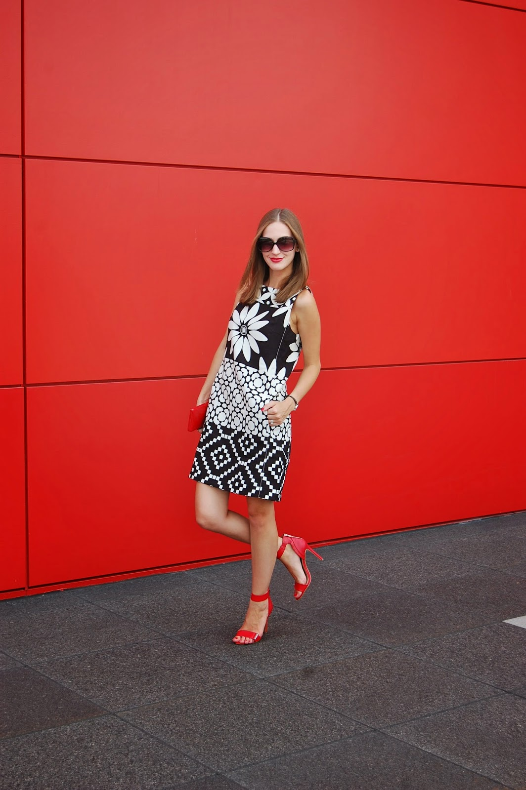 Wearing SS14 Desigual Perfectly Imperfect Dress, Mod Trend 2014, Wearing Steven By Steve Madden Lizete Red Heels