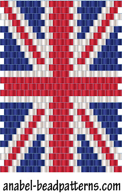 схема британский флаг из бисера - мозаика кирпичное плетение