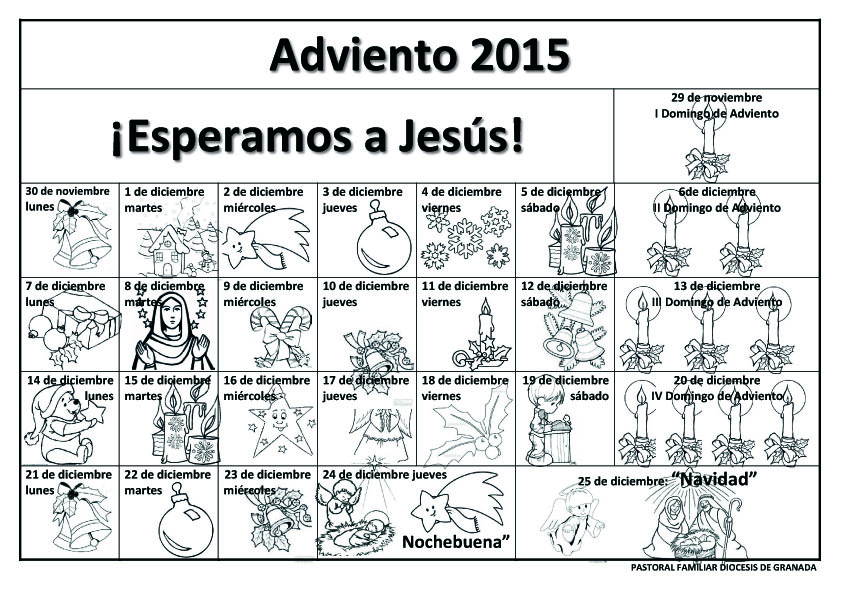 Calendario de adviento para colorear 2014