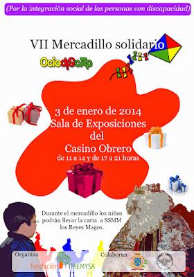 cartel anunciador de la actividad mercadillo solidario ociodiscap fundación Premysa