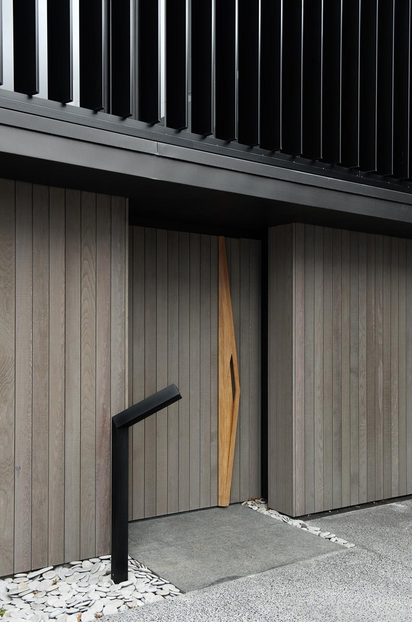 Wooden facade on Lucerne Residence in New Zealand