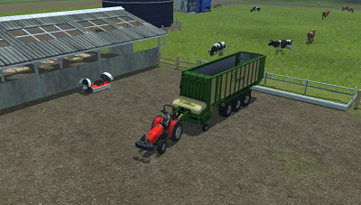 Feeding cows with grass