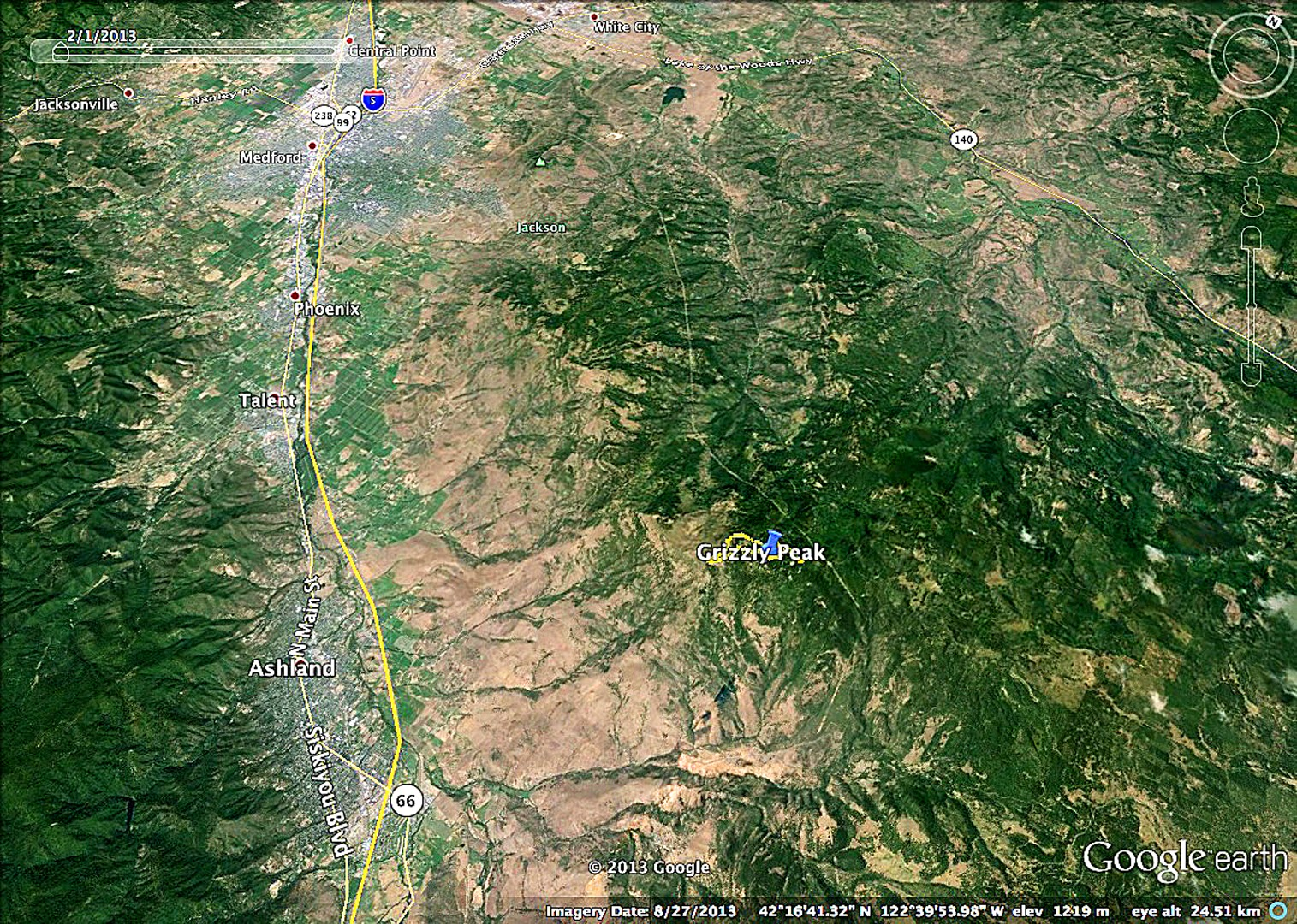 mt ashland to the west the klamath basin to the east mt shasta to the south and mt mcloughlin to the north this google earth map shows its