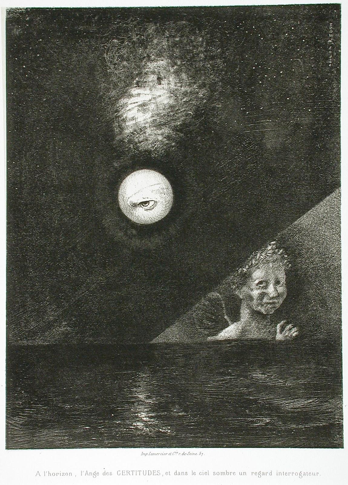 À l'horizon, l'Ange des certitudes, et, dans le ciel sombre, un regard interrogateur