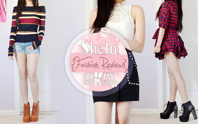 Today I've got a review of four fall-friendly fashion items from SheIn, including a red asymmetric tie-front plaid dress, a striped boat neck sweater, a white crochet bodysuit, and a studded black suede skirt. Plus, read on until the very end for details about my upcoming SheIn giveaway!