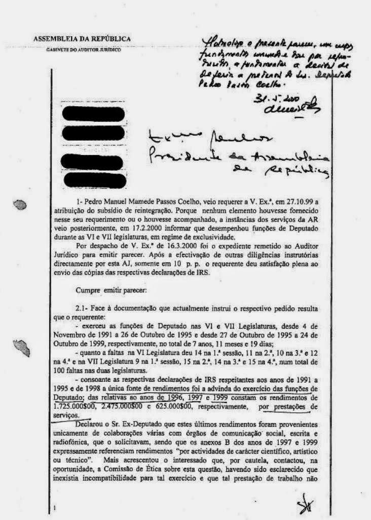 Pedro Passos Coelho, Subsídio de Reintegração, Regime de Exclusividade, Tecnoforma