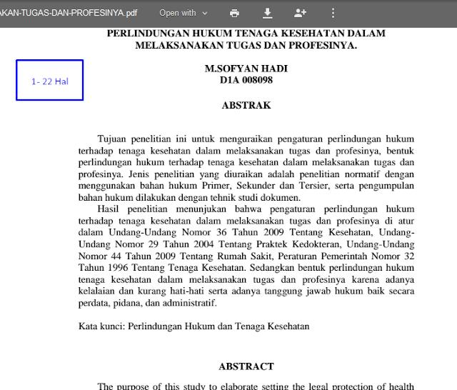 Jurnal Hukum – Perlindungan Hukum Terhadap Tenaga Kesehatan Dalam Melaksanakan Tugas Dan Profesinya