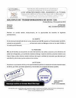 FORMATO MODELO EJEMPLO DE SOLICITUD DE TRANSFORMADORES