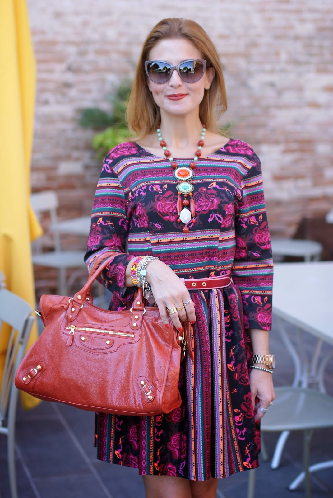 Blackfive dress, ethnic print dress, Balenciaga City rouge amber bag, Fashion and Cookies, fashion blogger