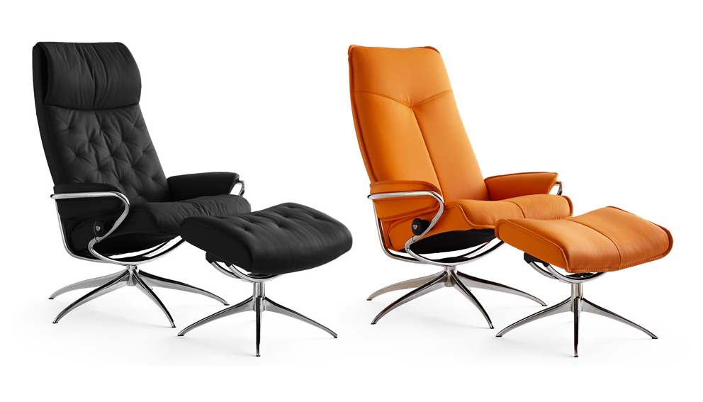 Black Metro Recliner with footstool and Orange City Recliner with Footstool - French For Pineapple Blog