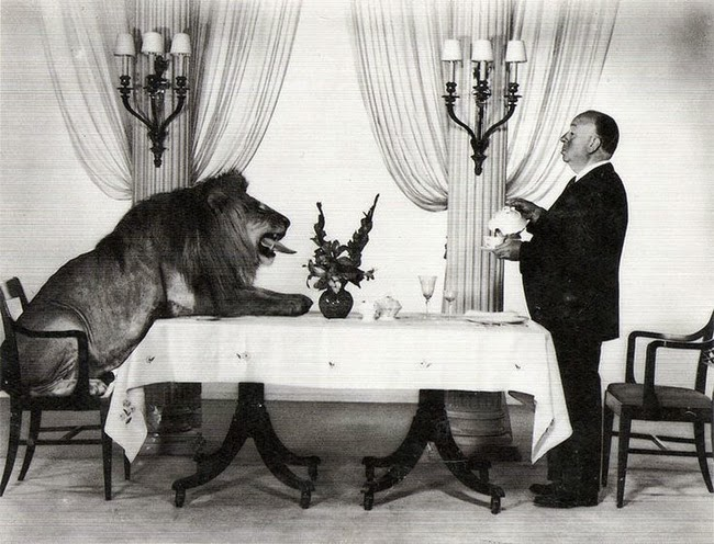 24 Rare Historical Photos That Will Leave You Speechless - Alfred Hitchcock and the MGM Lion Leo having tea together.