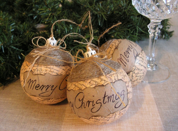 Rustic Christmas decoration ideas tree ornaments