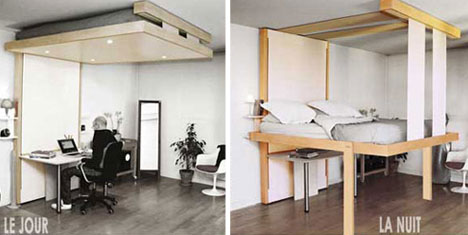 Rent to blog floating to sleep hanging hideaway for Floating loft bed designs