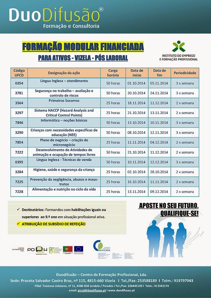 Cursos financiados em horário pós-laboral em Vizela (Formação Modular)