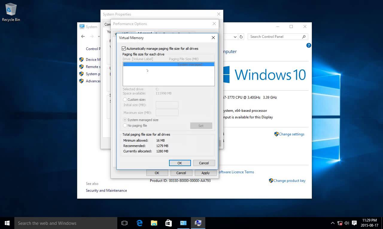 adjust virtual memory in windows 10 to optimize performance windows 10 tips and tricks. Black Bedroom Furniture Sets. Home Design Ideas