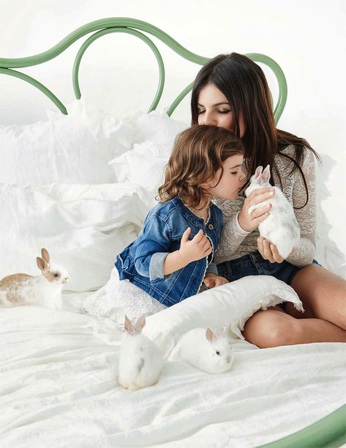 Julia Restoin-Roitfeld & Romy Nicole photographed by Pamela Hanson for Elle France April 2015 / baby girl, mother & daughter fashion editorials / models & their children / via fashioned by love british fashion blog
