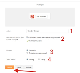 Panduan Cara Pasang Widget Google+ Badge di Blogger