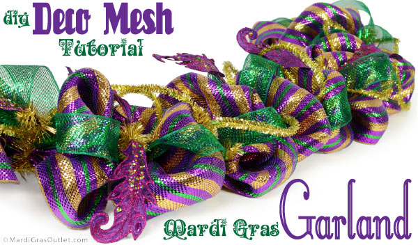 Mardi Gras Garland made with Deco Mesh and Work Garland Form: A tutorial