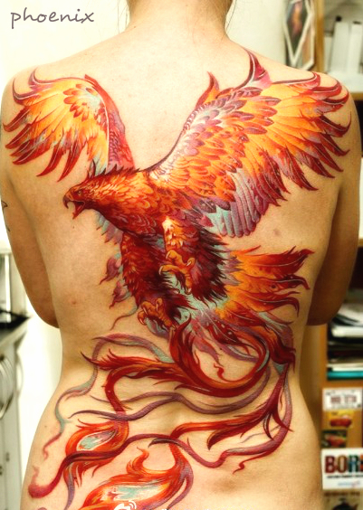 full back phoenix tattoo design with very vivid color