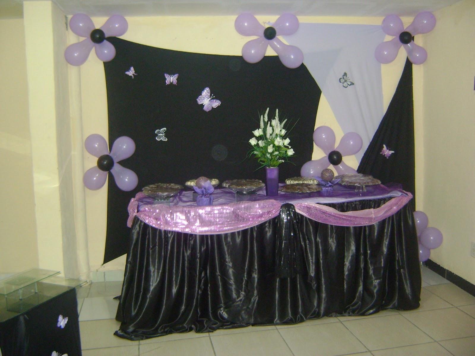 decoração de festas DECORAÇÃO LILÁS E PRETO