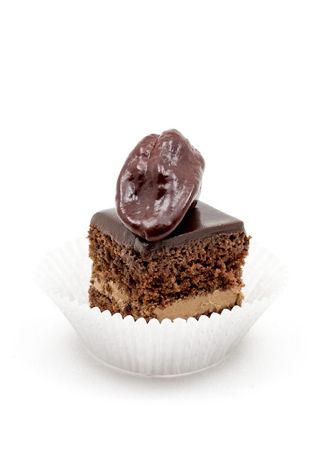 Chocolate chili cake cubes single with chili on top