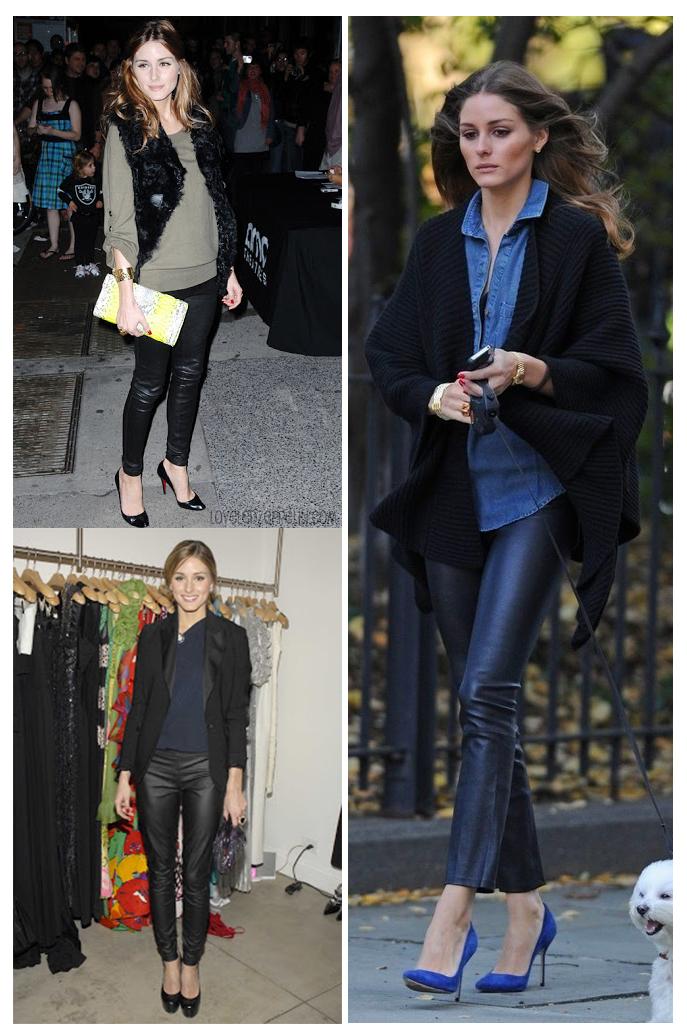 Street style Olivia con pantalón de cuero
