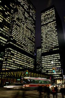bright lights, big city, skyscrapers, night, blurred photo