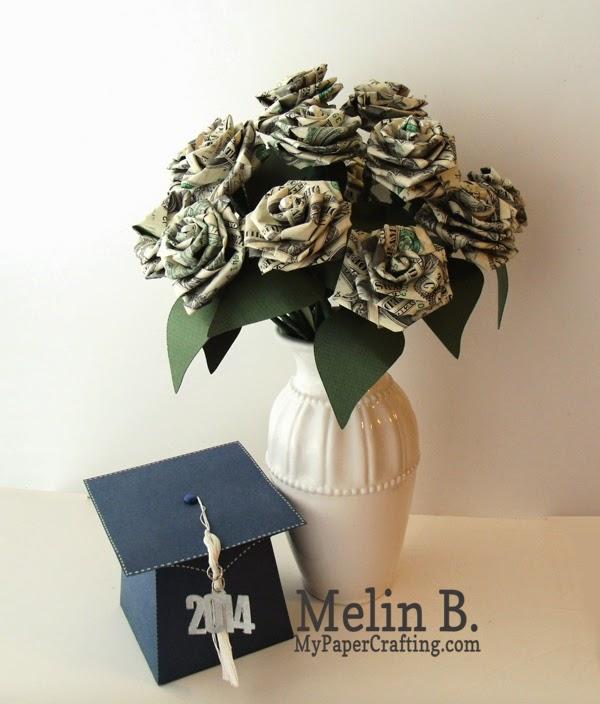 my paper crafting com  dollar bill roses and grad cap box