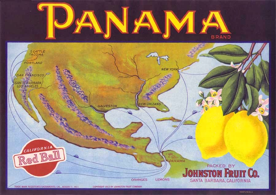 http://www.antiquelabelcompany.com/store/Scenic/Great-Map-Showing-shipping-Routes-on-PANAMA-Lemon-Crate-Label-from-Santa-Barbara-California-Custom-Framed-p496.html