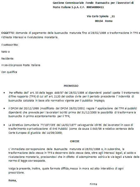 RICHIESTA BUONUSCITA EX IPOST