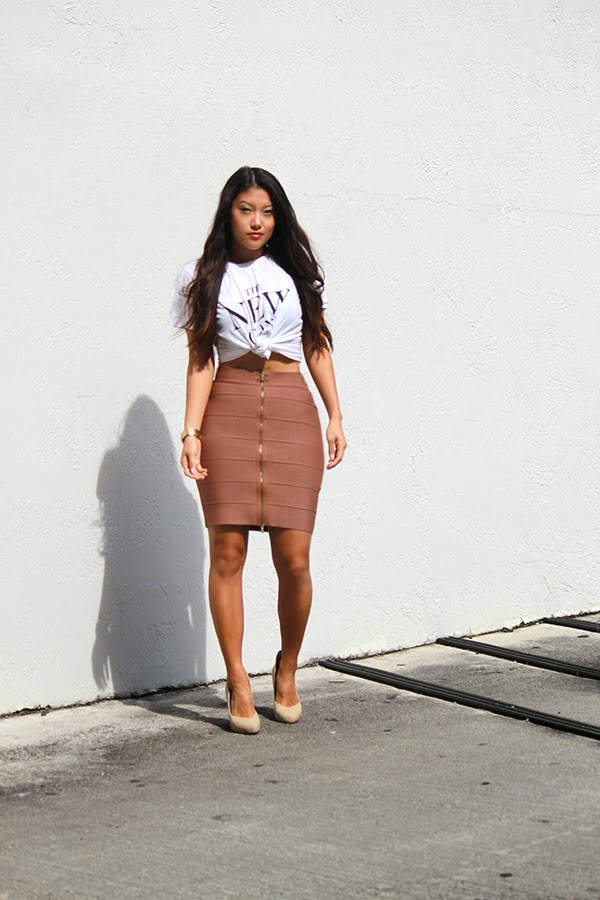 Style By Lynsee, Lynsee Hee Kyeong, daytime outfit, miami outfit, weekend outfit, crop top, graphic tee, zara tee, bcbg maxazria skirt, bandage skirt, brown bandage skirt, party dress, party outfit, nude heels, nude pumps, aldo shoes, topshop rings, gold rings, gold watch, guess watch, guess clothing, fashion blogger, miami fashion blogger, outfit of the day