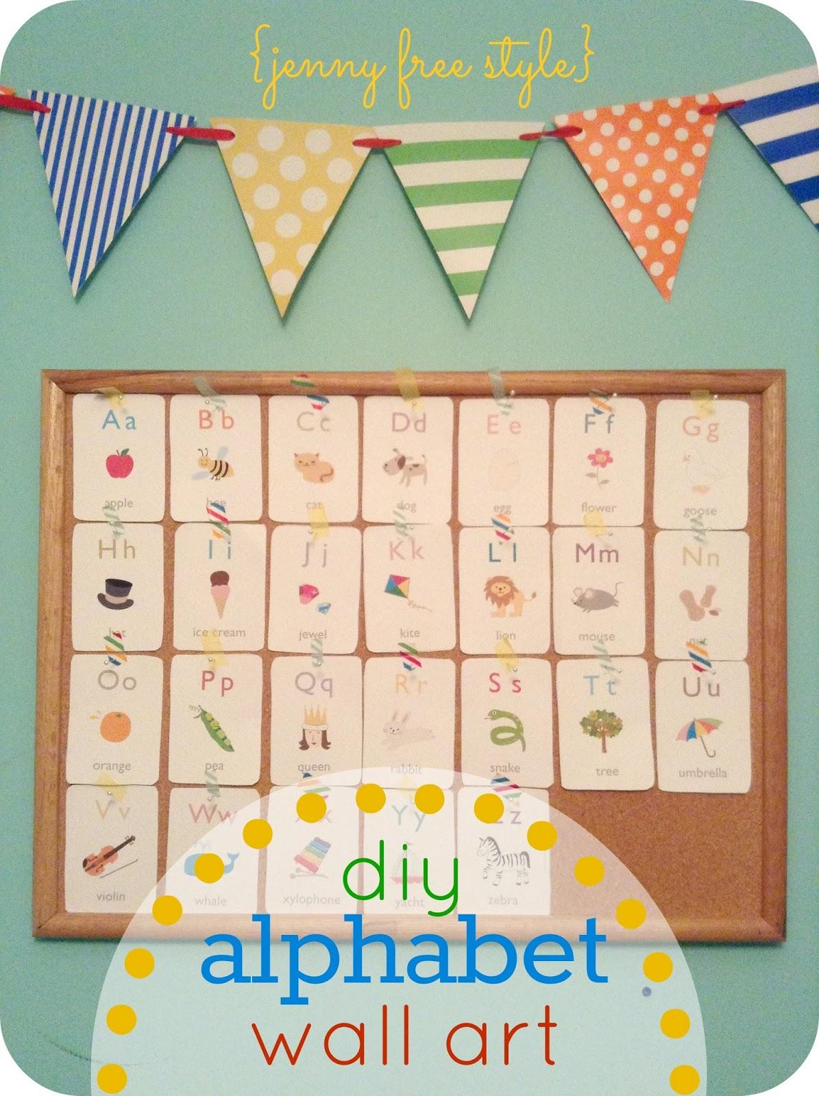 Diy Alphabet Wall Decor : Jenny free style diy alphabet wall art