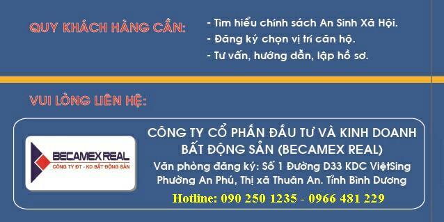 Căn hộ an sinh xã hội Becamex. Đăng ký căn hộ an sinh Becamex - Việt Sing 1.