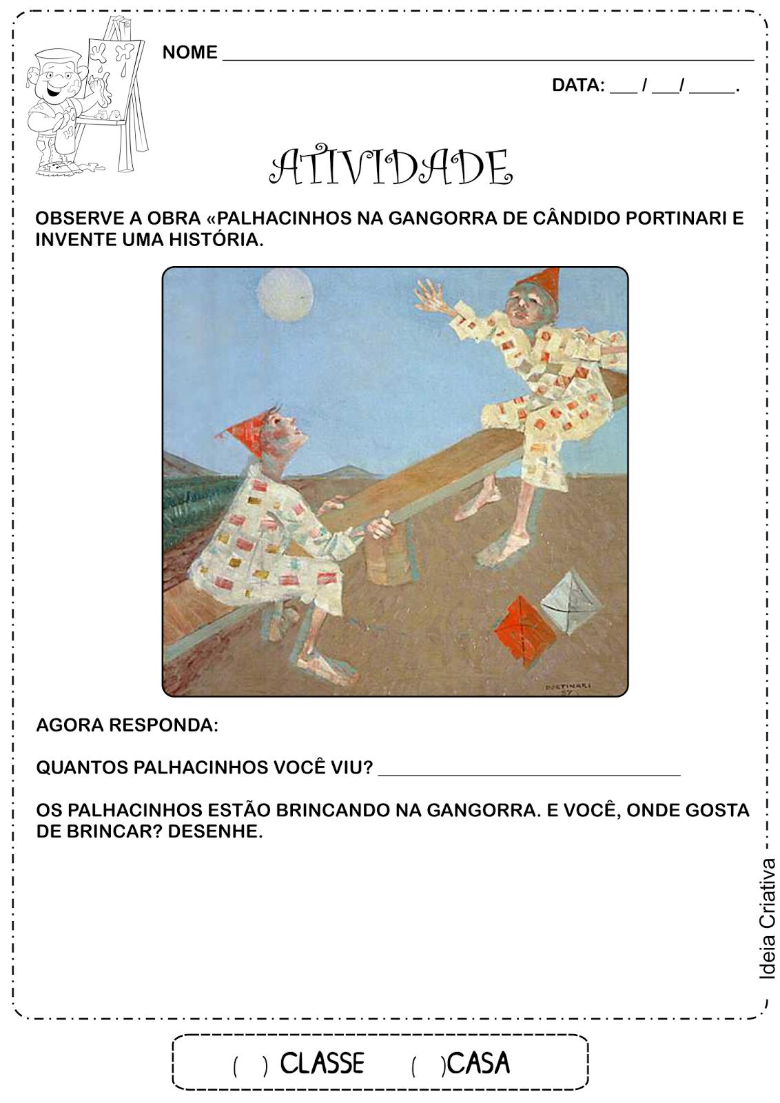 Atividade Releitura de Obra Palhacinhos na Gangorra de Cândido Portinari
