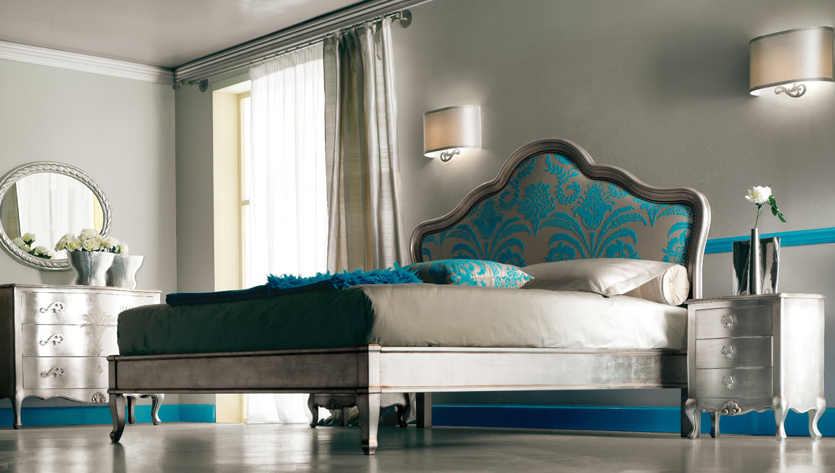 Turquoise and silver luxury bedroom furnitures.