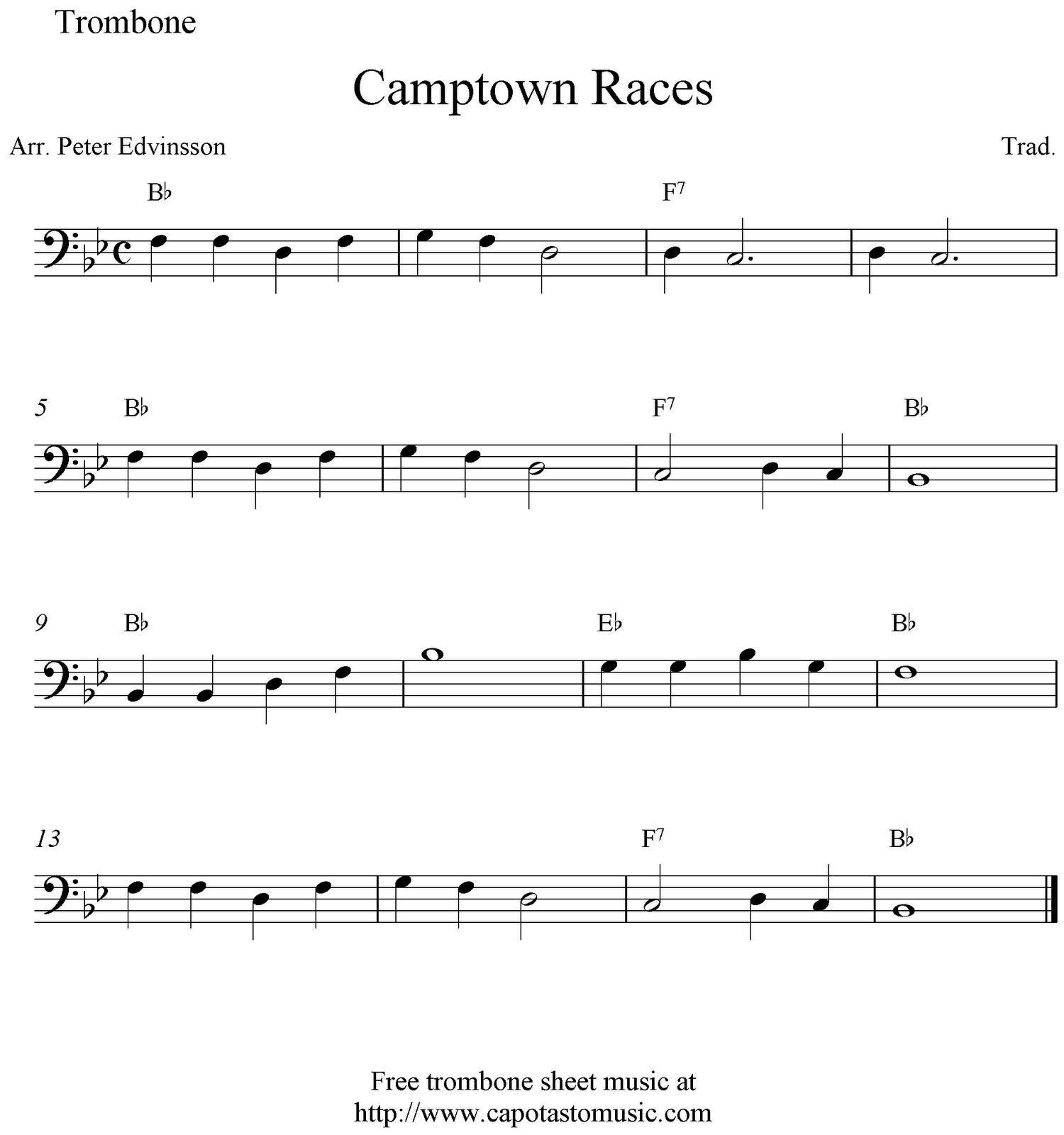 Camptown Races, Free Trombone Sheet Music