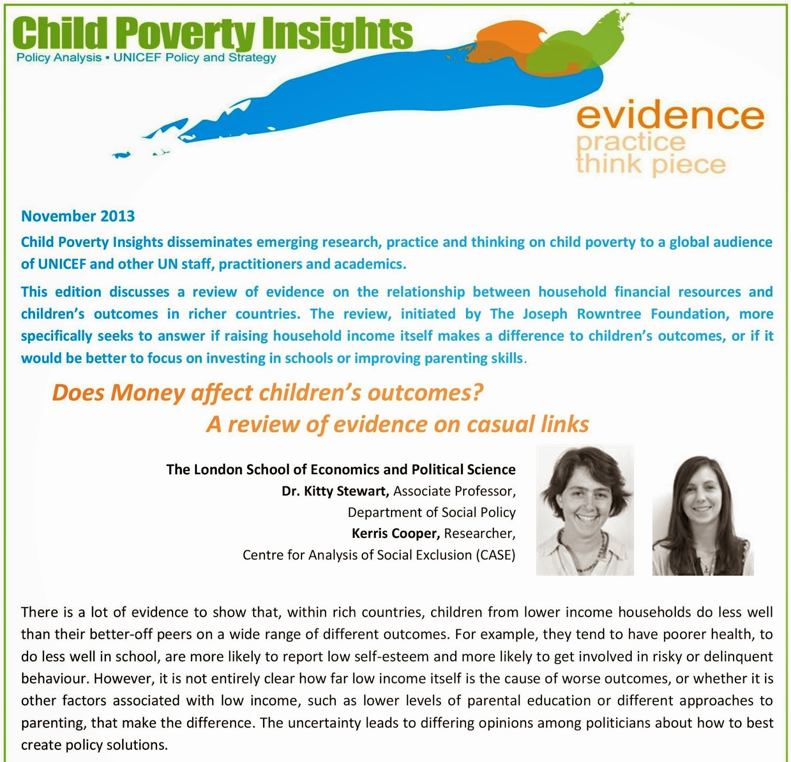 child poverty child poverty insights does money affect children s outcomes a review of evidence on casual links
